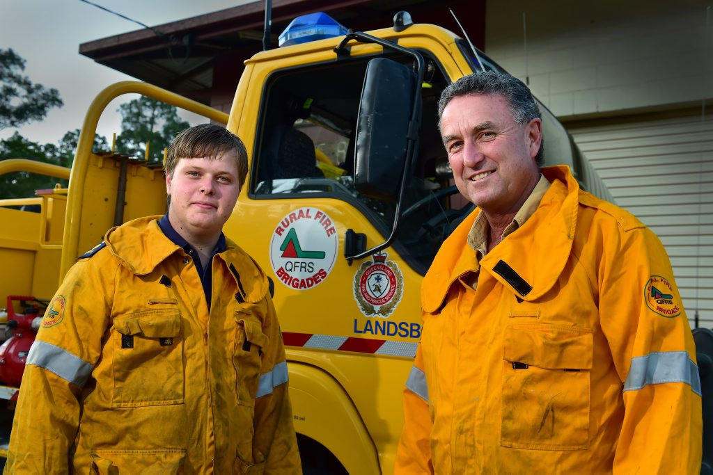 After 12 years at the helm of Landsborough Rural Fire Brigade first officer, Craig Young, has stepped down and passed the torch to 20-year-old Mark Jakeman. (from left) Mark and Craig at the Landsborough Station.