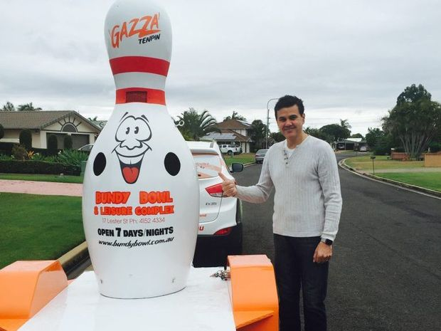 BOWLED OVER WITH RELIEF: Bundy Bowl and Leisure director Peter McElligott is thrilled with the safe return of mascot Gazza after it was stolen yesterday.