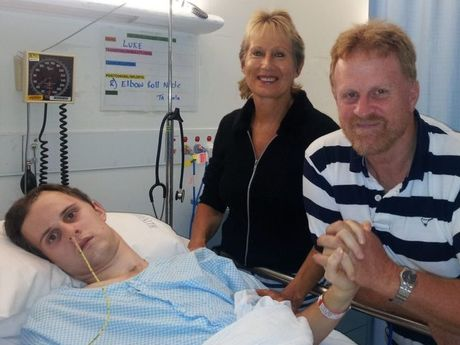 Early 2012. Luke's initial hospital and rehab stay was 14 months long. Pictured with Mother and Father Paula and Judy Reinbott. Luke's right side is completely paralysed here. Luke Reinbott Photo Contributed