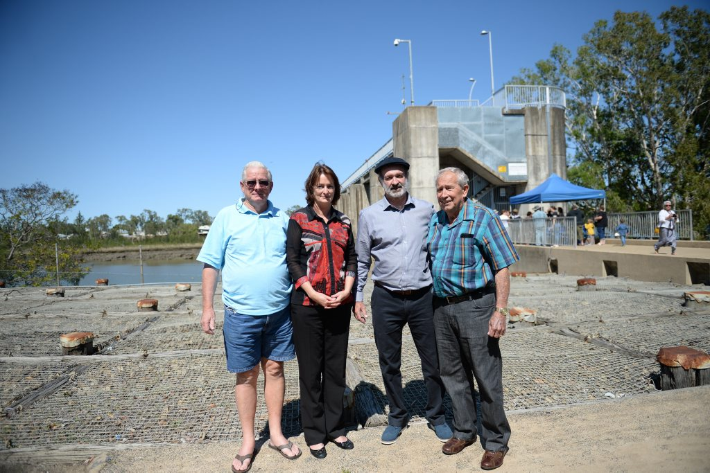 Colin McBean (uncle of Anthony Boyd Cook), Olwyn Money and Ian Cook (siblings of Anthony Boyd Cook) and Rob Nebe, who rescued Stephen Ward from the Fitzroy River Barrage in 1968, at the ceremony unveiling a plaque commemorating the event and lives lost. Photo Allan Reinikka / The Morning Bulletin