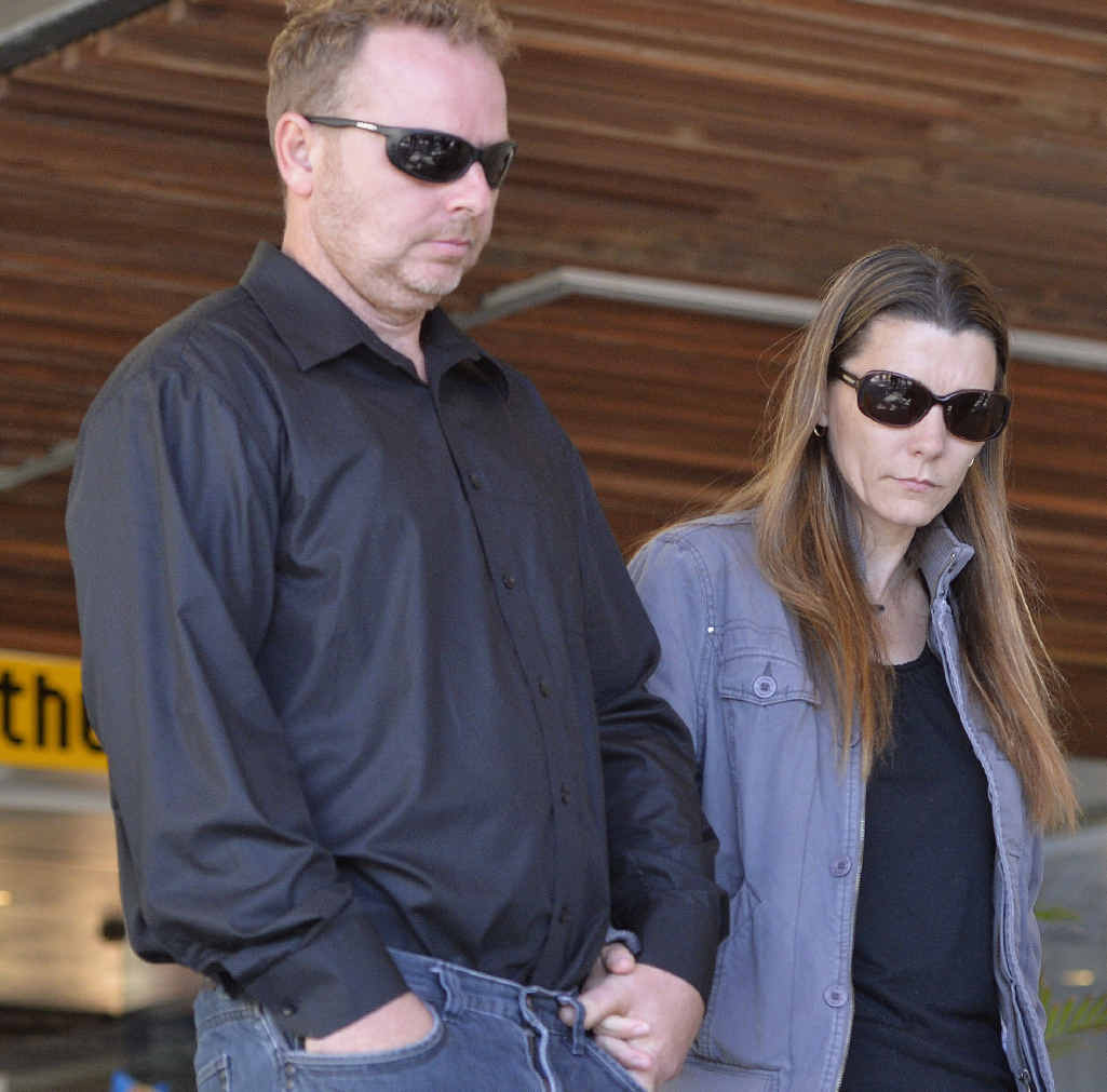 TOUGH CIRCUMSTANCES: Brenden Bennetts' parents leave Ipswich Magistrates Court yesterday.