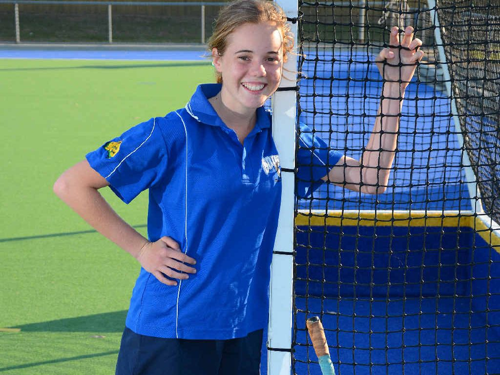 STICKING IN: Bree Bunyan, 14, will play two grand finals today for her Souths hockey team, including the A1 match against Meteors.