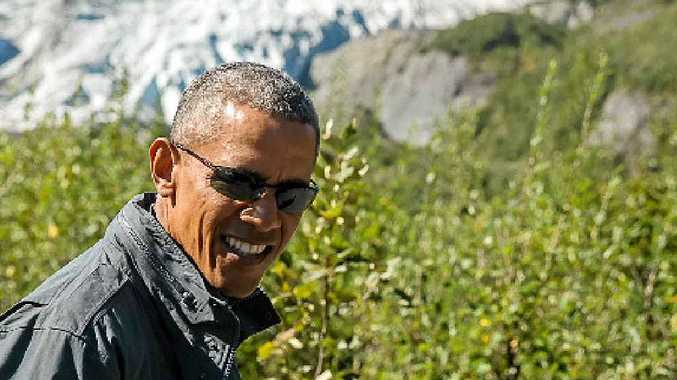 LEADING: On a mission to get backing for action on climate change, US President Barack Obama hikes to Alaska's Exit Glacier this week.