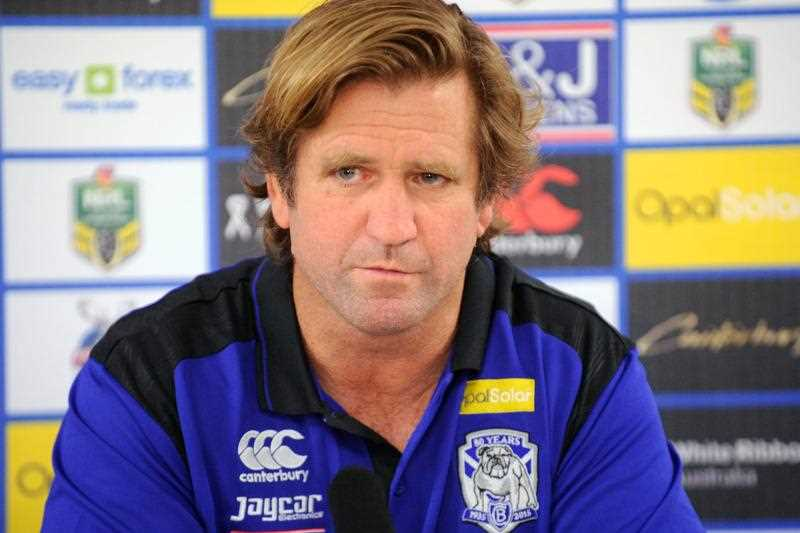 Bulldogs coach Des Hasler speaks to the media following his side's win in the Round 2 NRL match between the Canterbury-Bankstown Bulldogs and the Parramatta Eels at ANZ Stadium in Sydney, Friday, March 13, 2015.