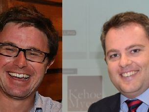 David Littleproud (left) and Cameron O'Neil are two of the five candidates in the LNP pre-selection ballot for the seat of Maranoa.