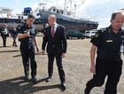 Immigration Minister Peter Dutton (left) and Australian Border Force commissioner Roman Quaedvlieg arrive to inspect the yacht Solay in Brisbane, Thursday, Sept. 3, 2015. Seventy kilograms of cocaine was seized by authorities when the boat berthed at Coomera on the Gold Coast last week.
