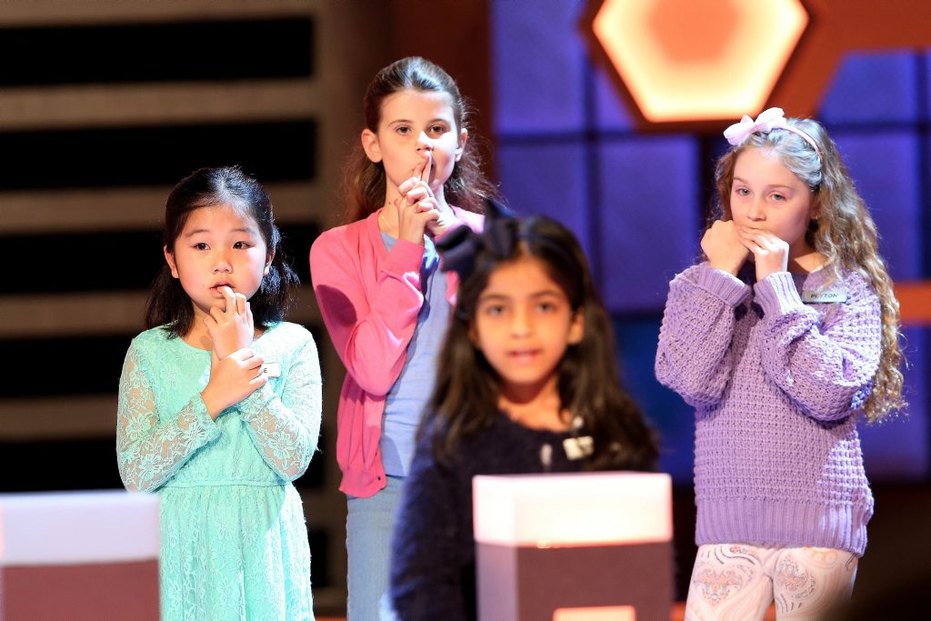 Grace, Amelia, Harpita and Peyton pictured in a scene from last night's The Great Australian Spelling Bee semi-final.