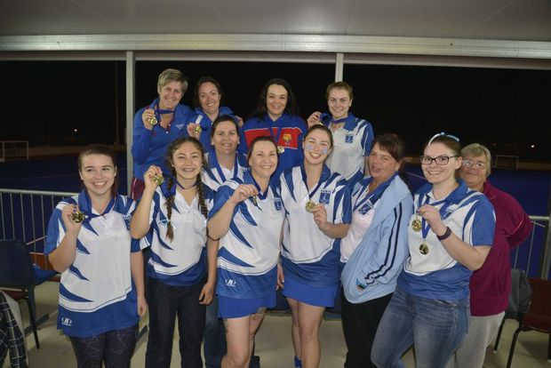 Saints (front, from left) Bree Shields, Nat Webb, Megan Neal, Sharon Williams, Jess Wallace, Kerri Fitch, Ngaire Hegarty, manager Mark King, (back) Toni Cox, Rachael Inmon, Hayley Cosh, Sian Hegarty. Jess Songergeld also played in the win.