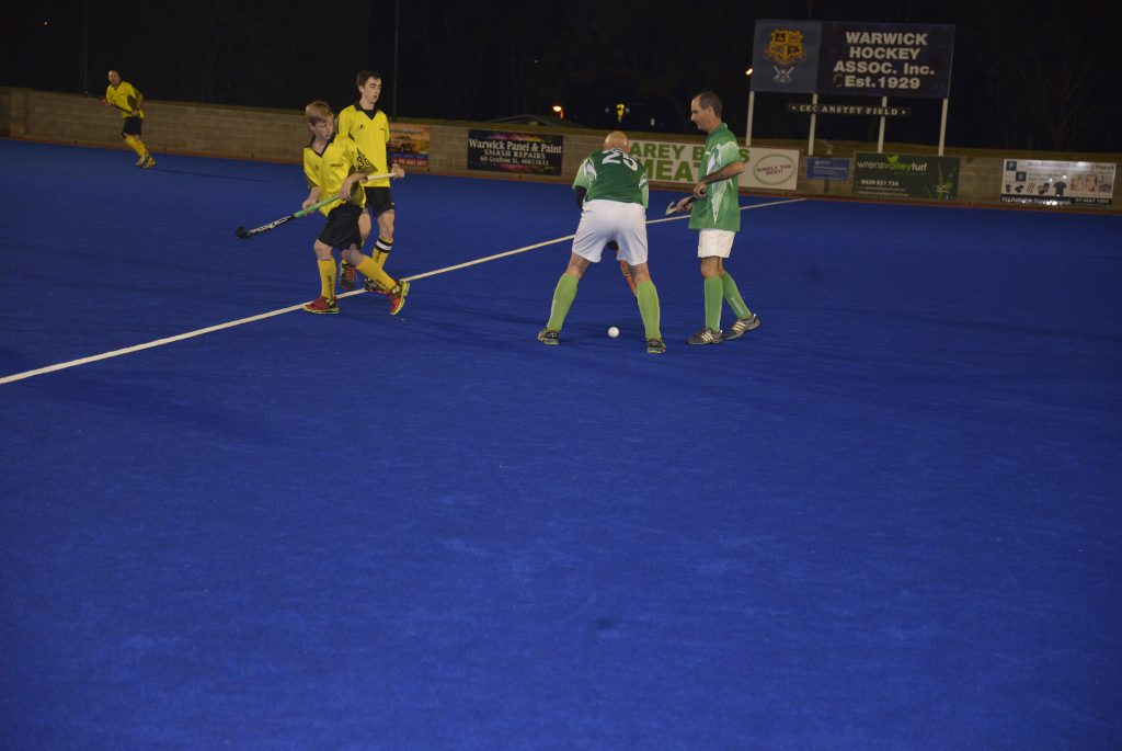 Dion Phillips ready to attack for Wyverns in a 4-1 hockey loss to Corinthians in the Warwick grand final.