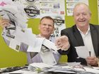 Mike Dorey and Ian Hawke drawing a winner for the City Pride competition. Photo Inga Williams / The Queensland Times