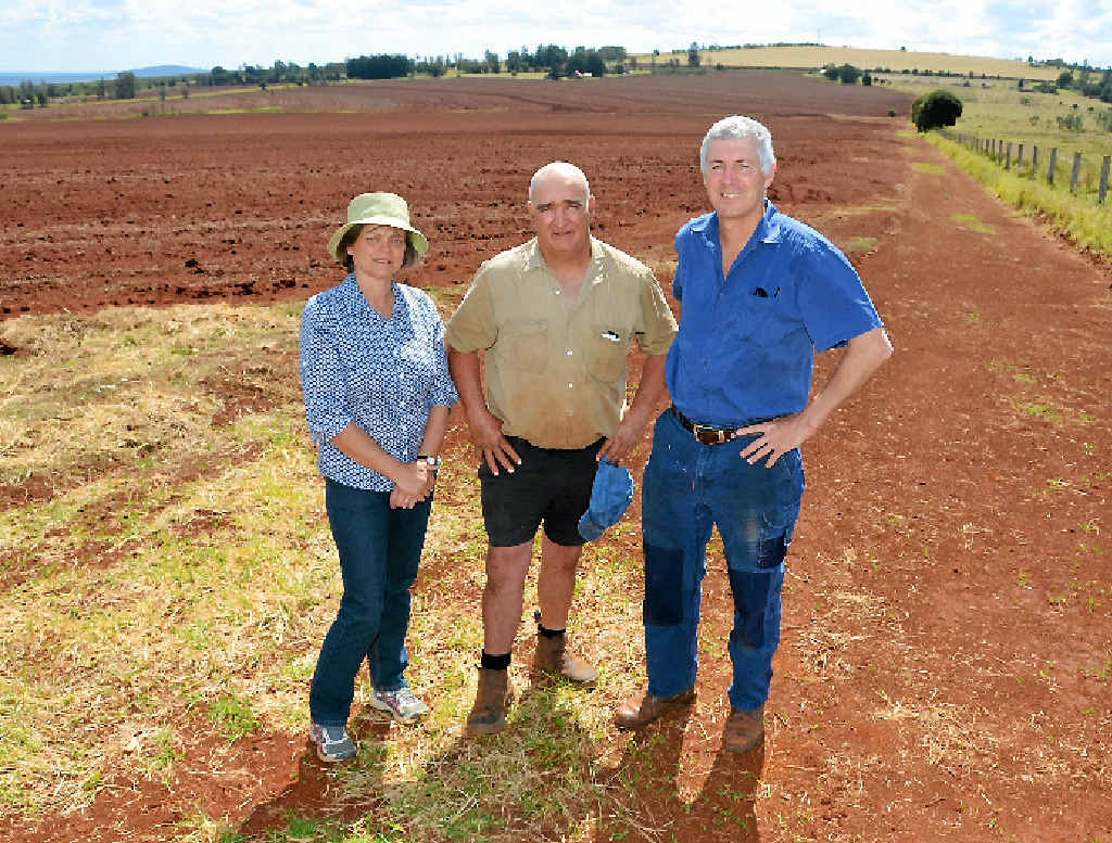 PRECIOUS LAND: John Dalton, Gary Tessmann and Neralie O'Sullivan are concerned about any move to explore mining on prime agricultural land.