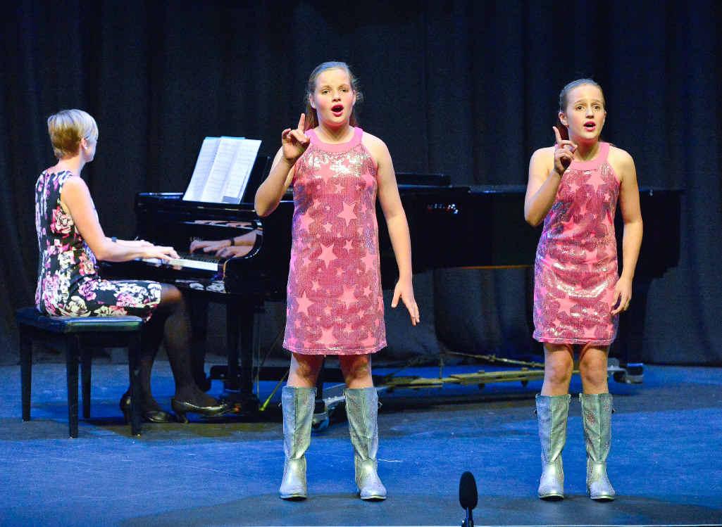 Modern Vocal Duo/Trio 12 years and under. Aurora McBride and Annamonet Massey.