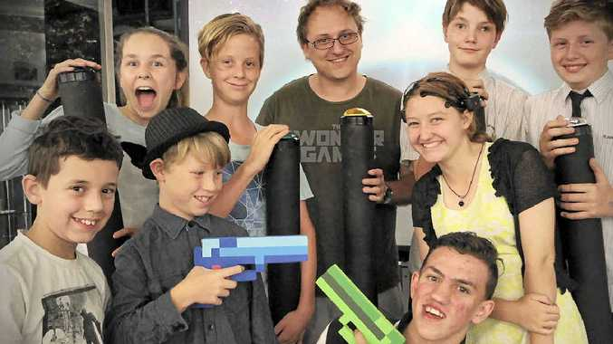 WONDER GAMERS: Digital artist and maker Mic Black with (top) Lili Scout, Ocean Haigh-Neale, Mic Black, Matthew Cook, Ewan Cassidy, (bottom) Hayden Clayton, Charlie Haigh-Neale, Jordan Josic and Jazmyn Black.
