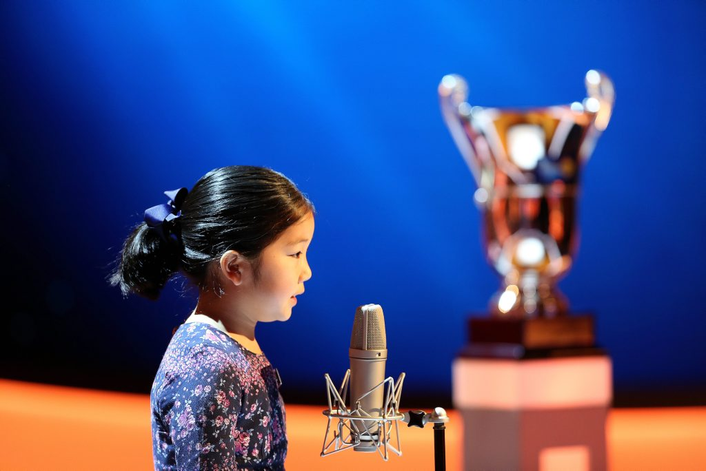 Grace competes in the grand final of The Great Australian Spelling Bee.