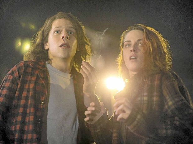 OVER-THE-TOP: Jesse Eisenberg and Kristen Stewart in a scene from the movie American Ultra.