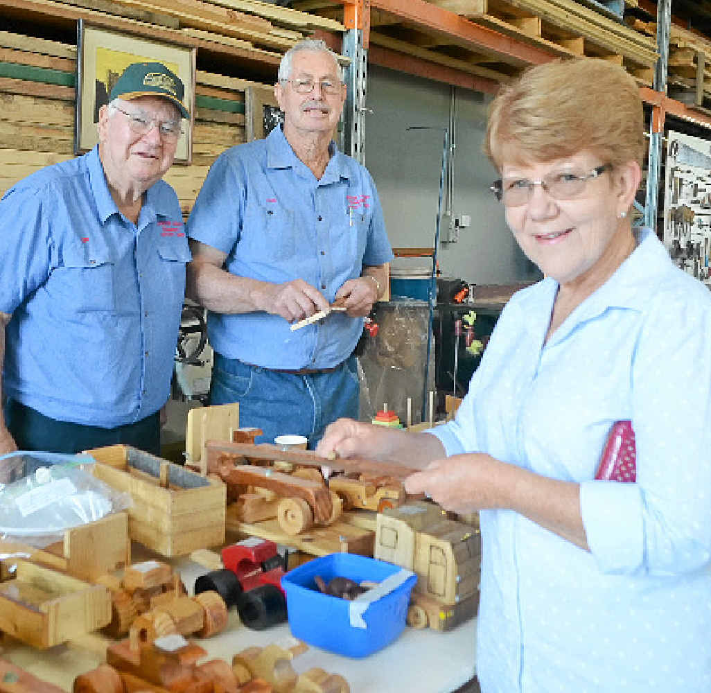 Len Dixon, Ivan Dallinger and Jill Manteufel at the Men's Shed.