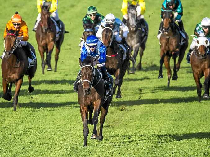 WINNING FORM: Jockey Hugh Bowman (blue silks) takes victory in the Queensland Oaks on Winx at Doomben.