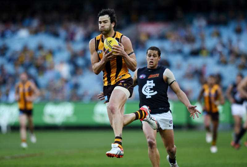 ordan Lewis of the Hawks during the round 23 AFL match between the Hawthorn Hawks and the Carlton Blues, played at the MCG in Melbourne, Saturday, Sep. 5, 2015.