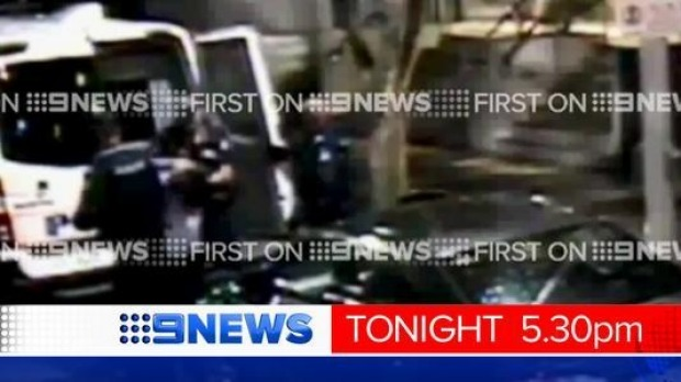 Footage aired on Tuesday evening shows Brayden Mechen being punched by police. Photo: Nine News