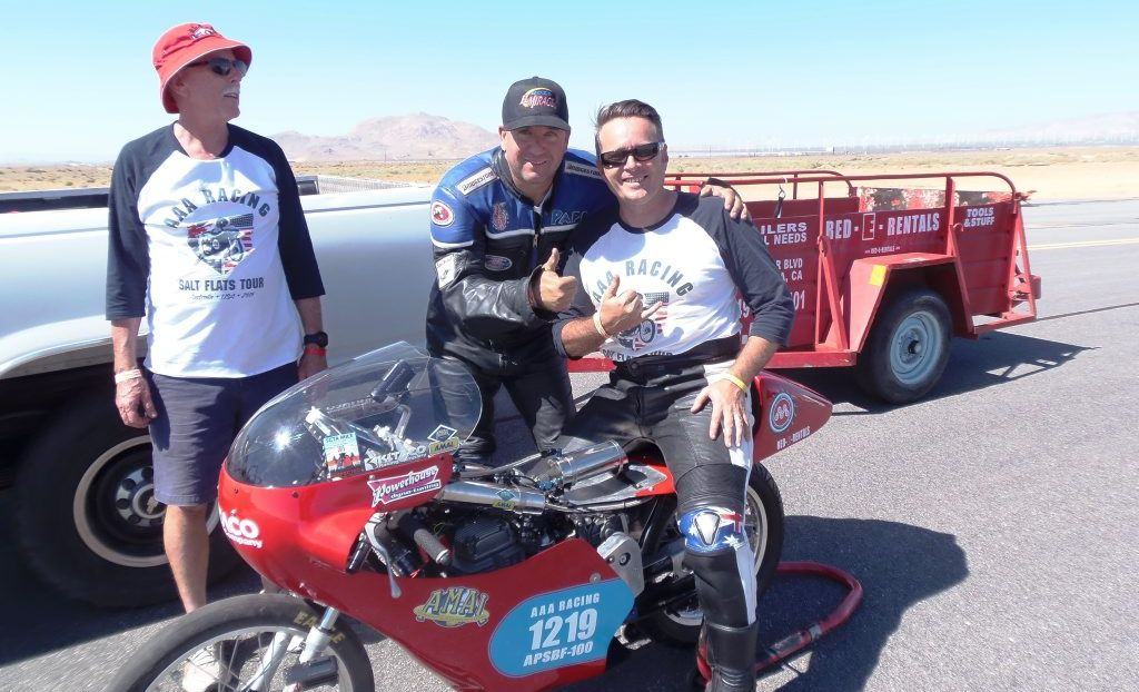 SPEED DEMONS: Warren, Mitchell and Jean Paul Afflick at the Mojave Desert Track in the USA