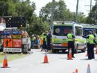 The scene of a fatal crash on Redbank Plains Road on Tuesday. Photo: Rob Williams / The Queensland Times