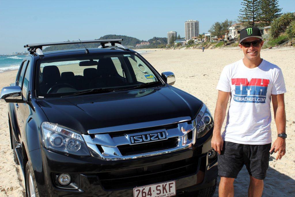 GOING BIG: Professional big wave surfer Ryan Hipwood drives an Isuzu D-MAX 4x4 Space Cab.
