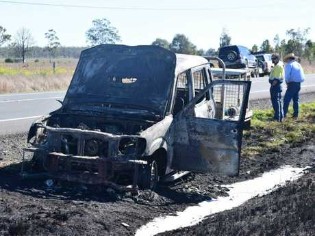 A ute, completely engulfed in flames, sparked a vegetation fire on the Warrego Hwy, east of Dalby, near Bowenville.
