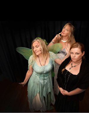 DRESSED FOR IT: Lisa Walmsley, Susan Osborne (at back) and Sarah-Jane Loxton, will be participating in the murder mystery night at the Winsome Hotel in Lismore.