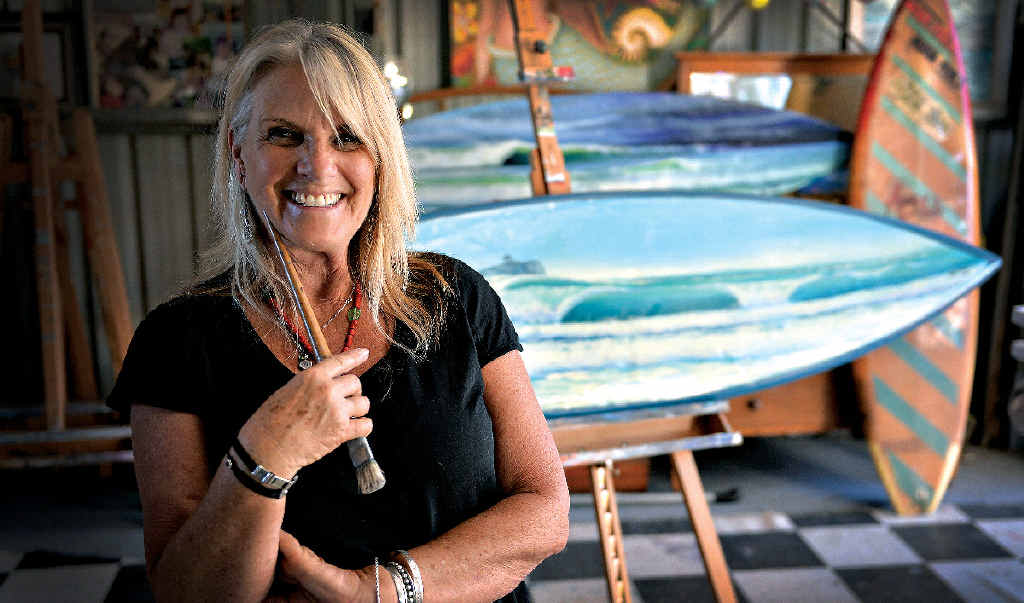 Lizzie Connors paints surfboards instead of canvas