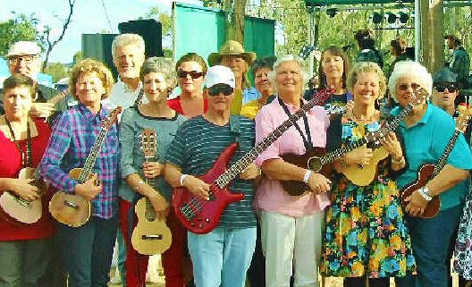 Members of the Stanthorpe UPPERS and the Warwick WUPPIES seen here following a performance at the recently held Bony Mountain Folk Festival.