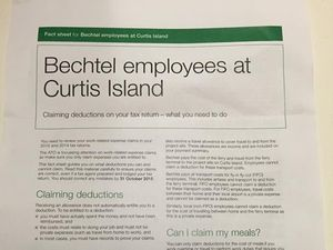 Tax office clarifies what Bechtel workers can claim