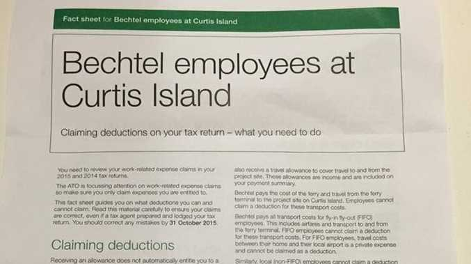 Australian Taxation Office has issued this fact sheet to Curtis Island workers.