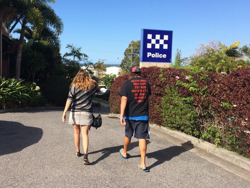 BANNED: A couple leaves Gladstone Magistrates Court after being banned from all Queensland liquor outlets.