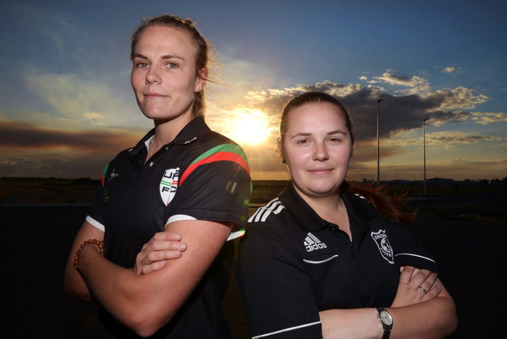 FINAL TIME: UPE captain Taryn Gollshewsky and Bingera captain Madelyn McCracken can't wait for the Bundaberg Women's Division 1 grand final being played today at Martens Oval. Photo: Max Fleet / NewsMail