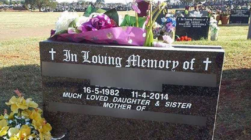 The headstone of Mary's sister, who took her own life in 2014.