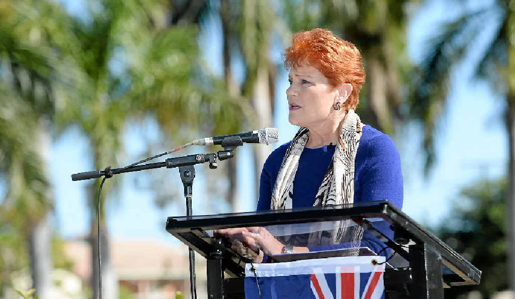 POLITICAL PROBLEMS: Pauline Hanson addresses the crowd at the Reclaim Australia Rally in Rockhampton in July during one of two visits to the region this year.