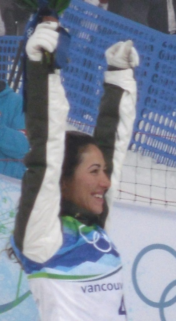 Lydia Lassila at the flower ceremony for the Women's aerialists at the 2010 Winter Olympics, having won the gold medal
