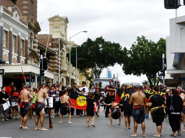Indigenous protesters walked through the Ipswich CBD to raise concerns over the development of the Deebing Creek Mission. Photo: David Nielsen / The Queensland Times
