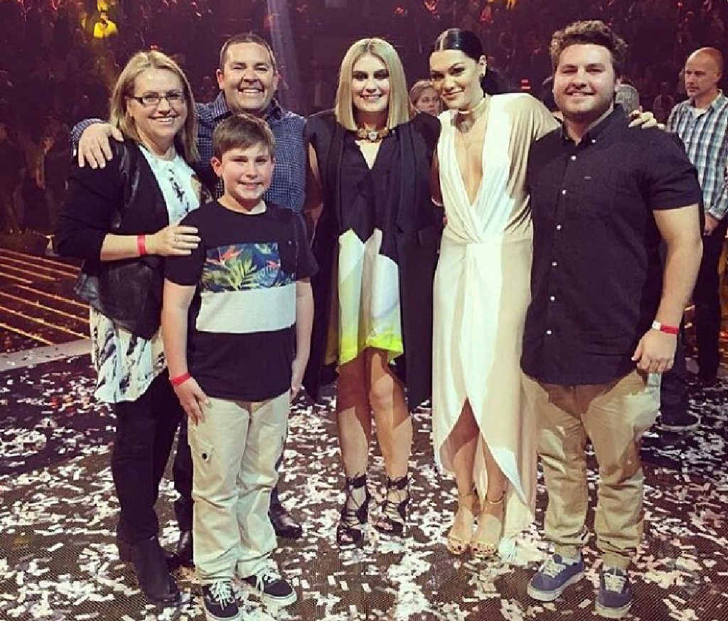 WINNER'S CIRCLE: from left, Anissa and David Drennan, son William, 11, Ellie, 16, The Voice judge Jessie J, and big brother Harry, 19.