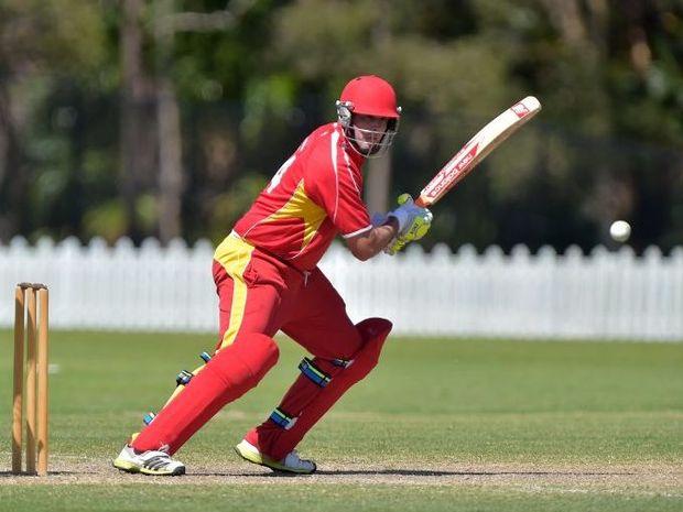 Sunshine Coast Scorchers against Sandgate Redcliffe, one day cricket match. Scorchers Ashley Renouf strides out. Photo: Warren Lynam / Sunshine Coast Daily