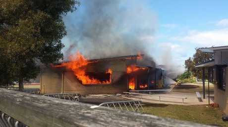 Classrooms at Unity College at Caloundra West are destroyed by fire. Photo Jack Bielleman