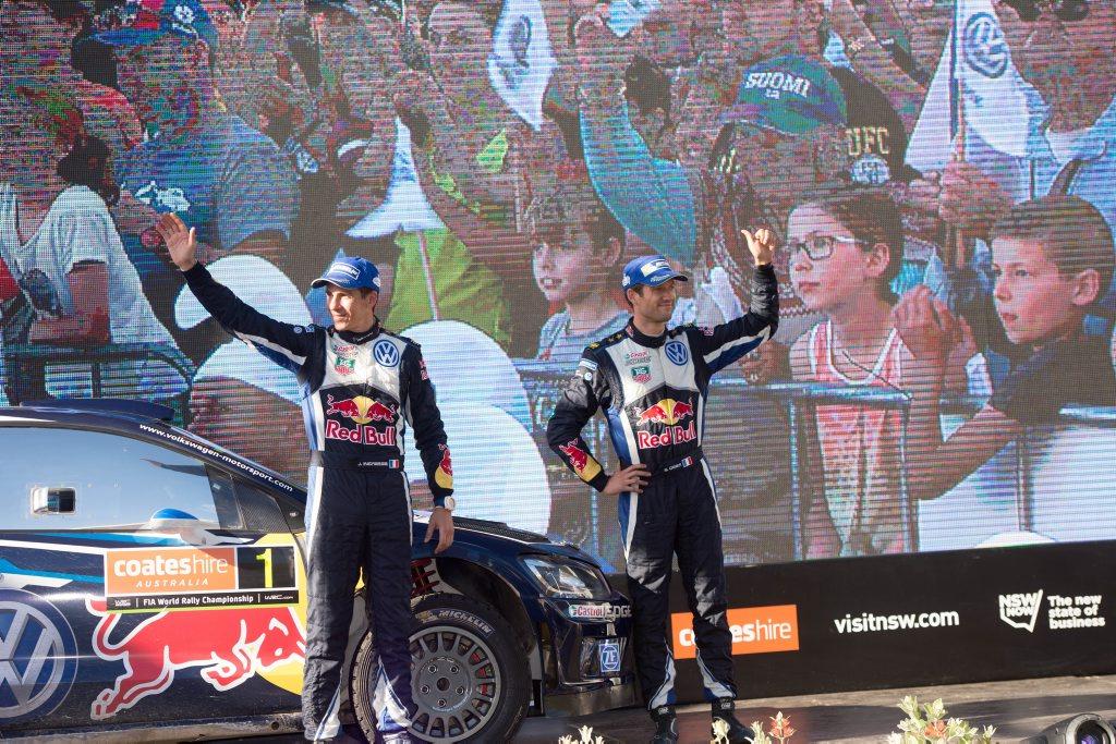 WRC 2015 rally podium finish in Coffs Harbour Mall. winners lto r: Julian Ingrassia (co driver) and Sebastien Ogier (Driver) 13 SEPT 2015 Photo Trevor Veale / Coffs Coast Advocate