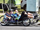 Day two of the Maryborough Technology Challenge HPV event - Tandem racers in 'Double Barrel' from Brisbane Bayside State College. Photo: Valerie Horton / Fraser Coast Chronicle