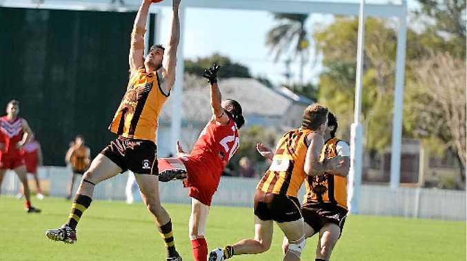 Mackay City Hawks' Scott Brown takes a good grab.