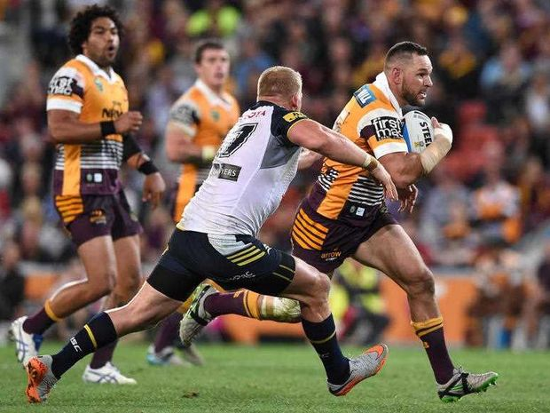 Broncos player Mitchell Dodds with possession during the NRL qualifying final between the Brisbane Broncos and North Queensland Cowboys at Suncorp Stadium in Brisbane, Saturday, Sept. 12, 2015.
