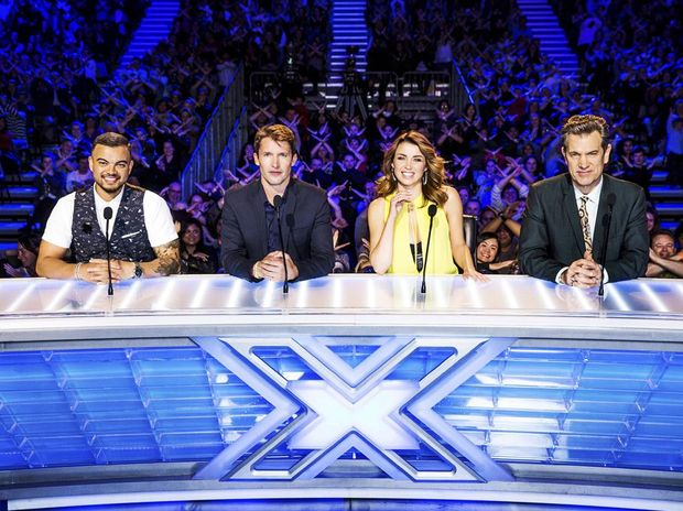 The X Factor judges, from left, Guy Sebastian, James Blunt, Dannii Minogue and Chris Isaak.