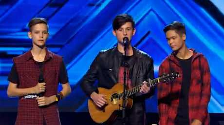 The trio In Stereo performs on The X Factor.