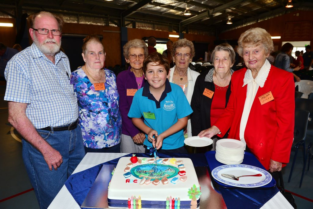 Current student Max Hunter with past students, Kevin, Beryl, Sylvia, Meg, Shirley and Ethel (Conlan) at North Arm State School for the celebration of 130 years of teaching. Photo: John McCutcheon / Sunshine Coast Daily