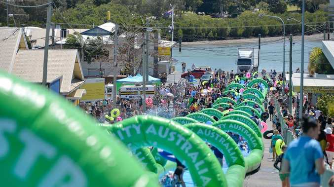 The big water slide visited Gladstone faced water supply issues leaving many disappointed.