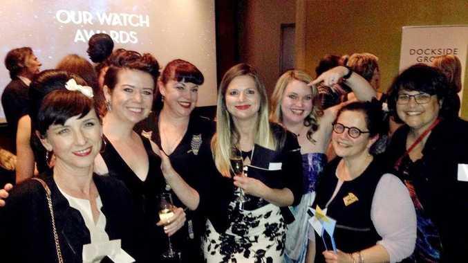 TEAM: Destroy the Joint social media administrators Naomi Worrall, Jo Allan, Megan McKenzie, Carolyn Newbigin, journalist Jenna Price and Nelida Contreras with host Julia Zemiro (centre) at the Our Watch Awards in Sydney last week.